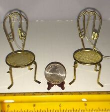 1/16 TWO MINIATURE GOLD COLOR METAL CHAIRS INSIDE OR FAIRY GARDEN OR ORNAMENTS
