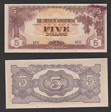 "Malaya Japanese Occupation 5 Dollars ""INK SMEAR"" #MK - AUNC"