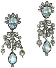 Look 925 Silver Dangler Earring 1.20ct Rose Cut Diamond Aquamarine Victorian