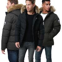 Mens Threadbare Melbourne Padded Jacket Faux Fur Hooded Windproof Puffer Coat