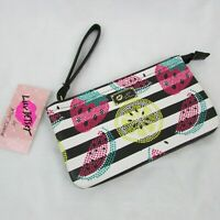 Betsey Johnson Fruit Stripe Double Pouch Wristlet Wallet $52 Strawberry Melon