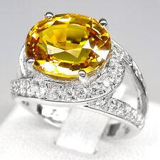 _LDN_Sublime Bague  Saphir  jaune et Saphirs blancs _Argent 925_T 53