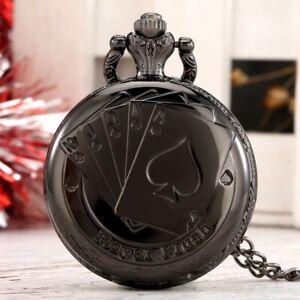 Black Silver Poker Star Quartz Pocket Watch for Men Women Necklace Chain Gift