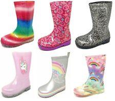Childrens Kids Girls Rainbow Glitter Wellies Wellington Rain Snow Boots Size 6-2