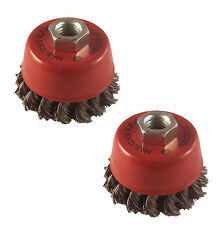 2pc 75mm Twist Knot Wire Wheel Cup Brush Set Kit For 115mm Aangle Grinder