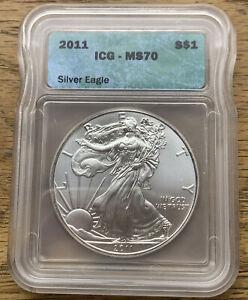 2011  1 Oz.  $1  American Silver Eagles  ICG - MS70