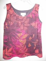 TanJay Women's Size Small Petite Sleeveless Blouse Sheer Multicolor Floral