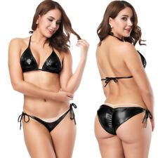 Women Wet Look Shiny Metallic Bra G-string Lingerie BIkini Sets Nightwear Sexy