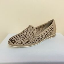 Marco Tozzi beige loafer style laser cut leather flats, UK 8//EU 41,  BNWB