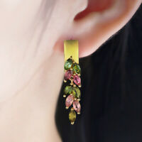 Natural multi-color tourmaline 925 sterling silver leaf dangle earrings women's