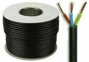 Quality 3 Core Round Black Flex cable 0.75mm Flexible PCV Extension Wiring 15m