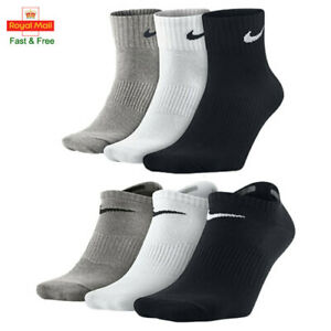 3/6 Pairs Nike Socks Mens Womens Ankle Low Cut Trainer Liner Cotton Sports Socks