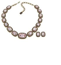 "Heidi Daus ""Exquisite Elegance"" Necklace & Earrings Set Rose Pink Clip ons  NWT"