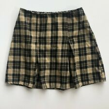Brandy Melville Plaid High Waisted Mini Skirt - Tan, Black, Brown One size NWOT