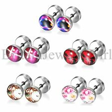 10pcs SET Round Stainless Steel Dumbbell Barbell Ear Stud Earrings for Men Women