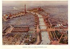 PARIS EXPO EIFFEL TOWER GENERAL VIEW OF THE PARIS EXPOSITION 1900 THAMES RIVER