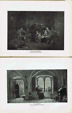 Blind Fiddler (Wilkie) & Violin Consolation (Hoesslin)-1925 Music History Prints