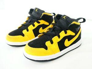 Nike Air Jordan 1 Mid TD 'Reverse New Love' Size 8C Yellow Black 640735-071 Baby