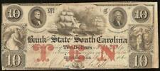 1860 $10 DOLLAR BILL SOUTH CAROLINA BANK NOTE LARGE CURRENCY OLD PAPER MONEY VF