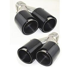2X doppelt Auspuff Rohr Auspuffblende Schwarz Carbon Fiber Edelstahl Universal