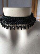 Black Leather Braided Beaded Fringe Choker