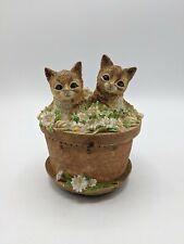 New listing Boston Warehouse Cat Tic Tock Timer 1 Hour Cats Kitty Kittens in Terra Cotta Pot