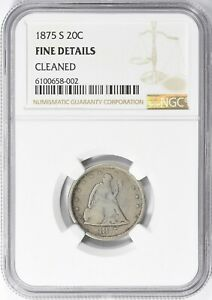 1875-S Seated Liberty Twenty Cent Piece 20c NGC Fine Details Cleaned