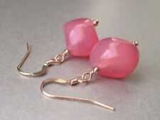Vintage Exquisite Opalescent Rose Pink Glass 14ct Rolled Gold Earrings