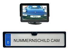 Nummernschild Rückfahrkamera 170° Nachtsicht KFZ inkl 4,3 Zoll Monitor