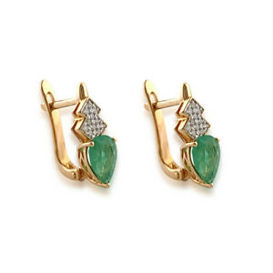 Genuine Emerald and Diamond Earring Pear Cut 14k Yellow gold with english clasps