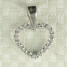 14k Solid White Gold Round Diamonds Love Heart Pendant TPJ