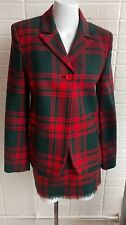 Versus Gianni Versace wool tartan blazer & matching fringed mini skirt small