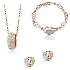 18K White Gold/Gold Plated Necklace & Earrings & Bracelet Jewelry Set