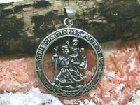 Heiliger Christopherus Anhänger Echt Silber 925 Schutzpatron Amulett Ø 2,6 cm