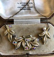 Vintage  1950\u2019s rhinestone  aurora borealis bow necklace