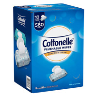 Cottonelle Fresh Care Flushable Wipes 560 Wipes Resealable Pouches Alcohol-Free