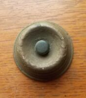 Antique Round Dark Mahogany Wood & Bakelite Doorbell Button c1920