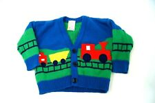 Vintage Baby Togs Blue Cardigan Sweater Trains 3-6 Months infant red steam train