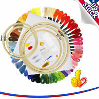 50 Color Threads Hand Embroidery Kit with 5Pcs Bamboo Hoops Cross Stitch Tools