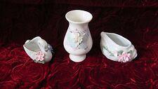 Set Vase Muschel Schwan Porzellan weiß Motiv Blumen - Dekor Höhe ca. 10,5 cm