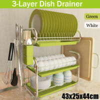 Green 3 Tiers Dish Drainer Rack Cutlery Drying Holder Tray Kitchen Stainless