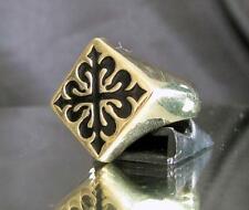BRONZE RING DIAMOND SHAPE FLEUR DE LIS LILY CROSS BLACK MEDIEVAL GOTHIC
