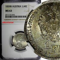 AUSTRIA Franz Joseph I (1848-1916) Silver 1859-B 1/4 Florin NGC MS63 KM# 2214