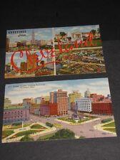 2 Antique CLEVELAND OHIO Postcard Colortone ART Downtown City Klein News Vintage