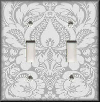 Metal Light Switch Plate Cover - Floral Damask Home Decor Silver Grey Damask