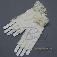 Flower Pattern Half Finger Lace Gloves w/ Ruffle Wrist Length 2BL/Various Colors