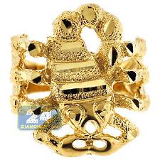 Solid 10K Yellow Gold Diamond Cut Scorpion Lobster Mens Pinky Signet Ring