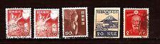 JAPON 4 timbres oblitérés +1 double  sujets divers 105T2