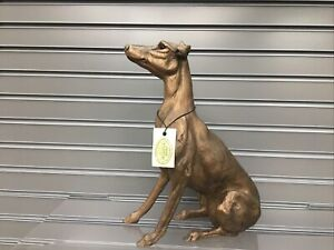 Frith Sculpture Bronze  Leo - Lurcher Sitting HD084. Brand New. 30cm High.boxed