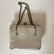 Vintage Silver Evening Bag Purse with Silver Chain Handle with bonus Ring Holder